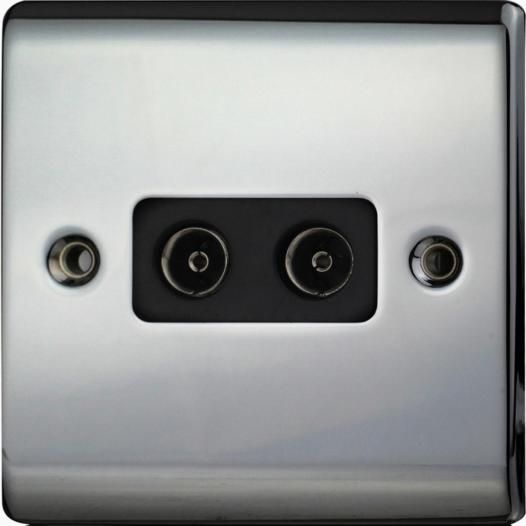Premspec 2G Co-axial Socket Black Nickel