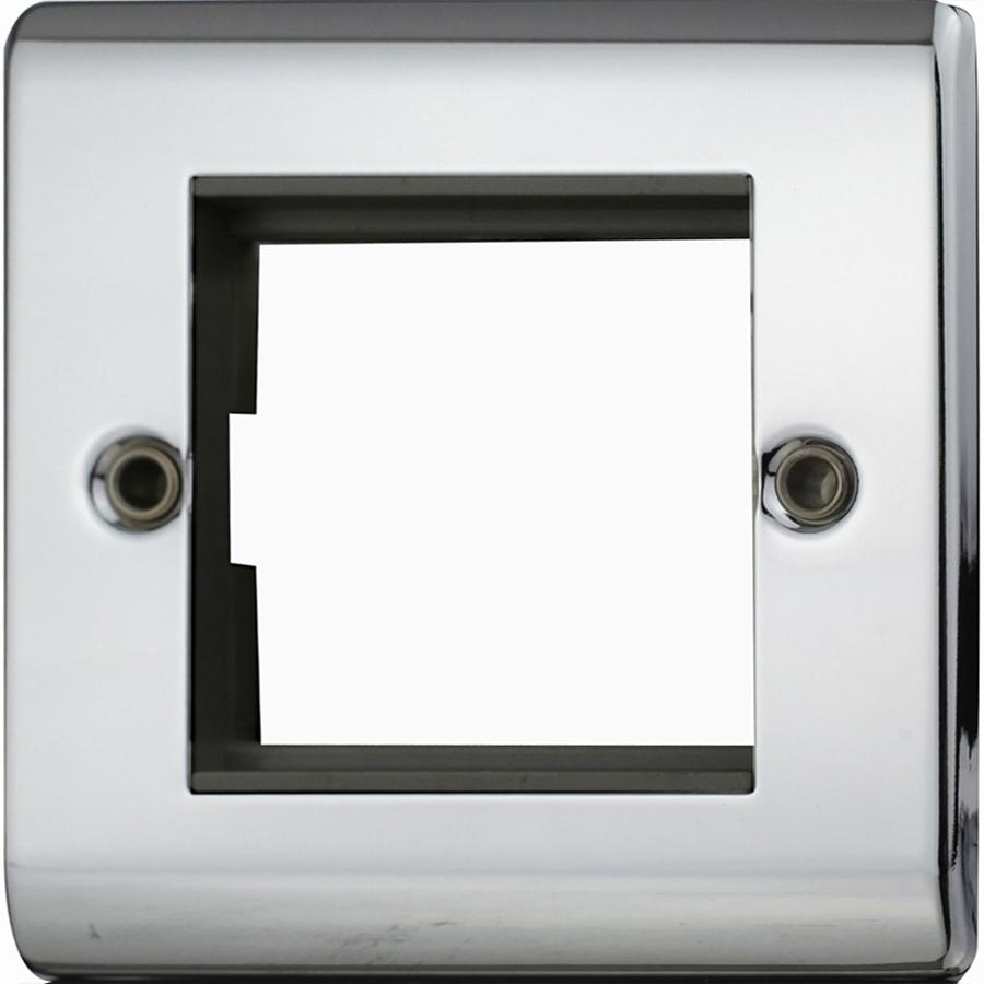 Premspec 2 Module Plate + Earth Polished Chrome