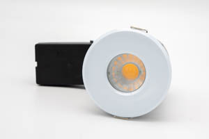 Die Cast Aluminium Shower IP65 Fire-Rated GU10 Fixed Downlight (White) with QuickBlock